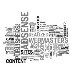 Adsense is vital for content sites text word vector
