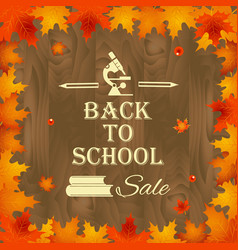 Back to school background with frame of leaves vector