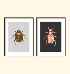 beetle wall poster art designs vector image vector image
