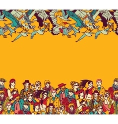 Big group people birds and empty place color vector image