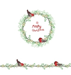 Christmas template with bullfinches and white vector image
