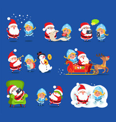 claus and snow maiden set vector image vector image