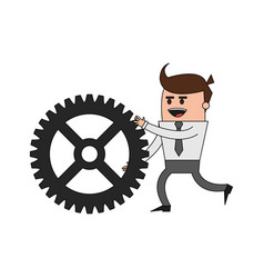 Color image cartoon business man pushing a gear vector