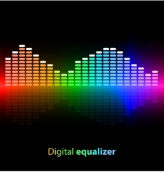 Colorful digital equalizer on black background vector image