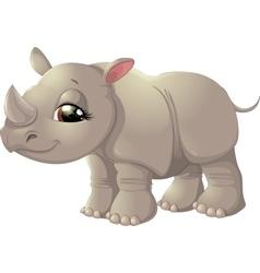 Cute baby rhinoceros sitting vector image