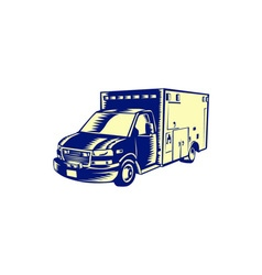 EMS Ambulance Emergency Vehicle Woodcut vector image vector image