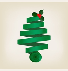 Festive green Christmas tree of coiled ribbon vector image vector image