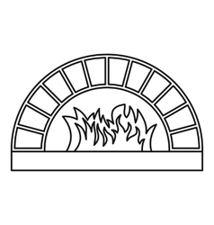 Firewood oven icon outline style vector