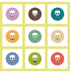 Flat icons halloween set of skull and candy vector