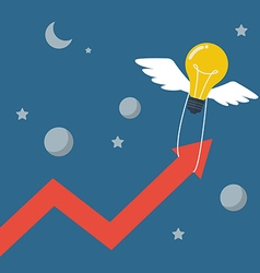Flying lightbulb pull arrow graph up vector