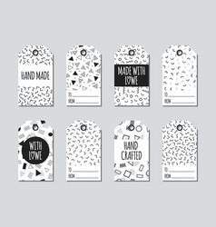 Gift tags and cards set with memphis elements vector
