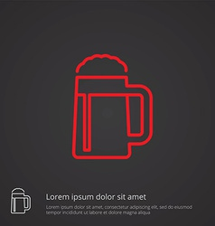 glass of beer outline symbol red on dark vector image vector image