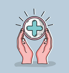 Hand with clinical cross symbol vector