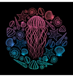 Jellyfish and shells in line art style Hand drawn vector image