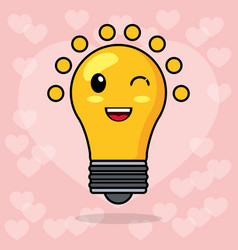 kawaii bulb light image vector image
