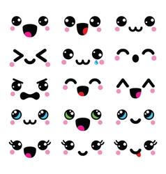 Kawaii cute faces Kawaii emoticons adorable vector image vector image