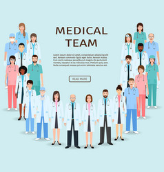 medical team group doctors and nurses standing vector image vector image