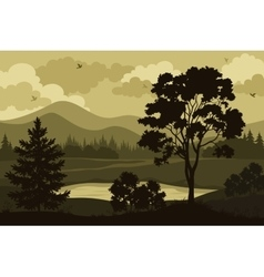 Mountains Trees and Lake vector image