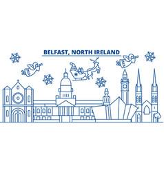 North ireland belfast winter city skyline merry vector