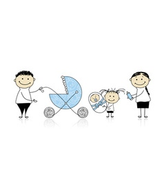 Parents walking with children baby in buggy vector image vector image