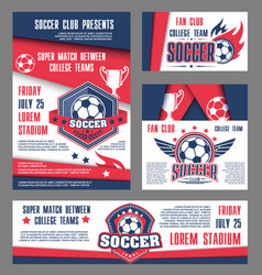 Soccer team college football match posters vector