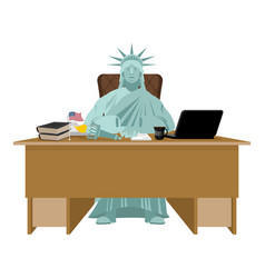 Statue of liberty sitting in office american boss vector
