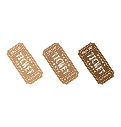 three brown tickets vector image