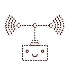 transmission antenna cartoon kawaii in monochrome vector image