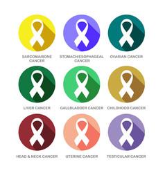 Various cancer awareness ribbon symbols icon set vector