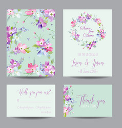 Wedding invitation template with spring flowers vector