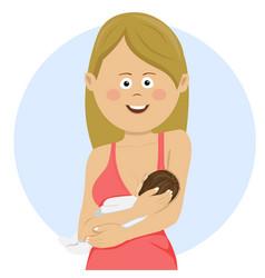 woman holding newborn baby breastfeeding vector image