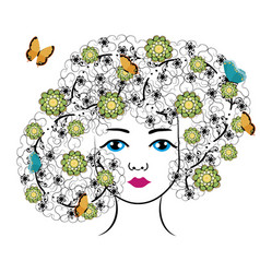 Woman with flowers and butterflies vector