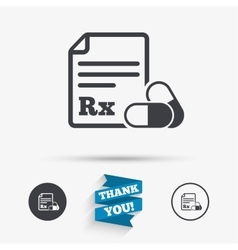 Medical prescription rx sign icon pharmacy vector