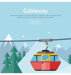 Cableway on mountain landscape web banner poster vector