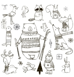set with cute winter animals vector image
