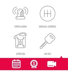 Manual gearbox jerrycan and car key icons vector