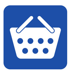 Blue white information sign shopping basket icon vector