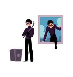 Thief burglar climbing into house window going vector
