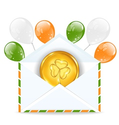 Envelope with golden coin and colorful balloons vector