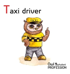 Alphabet professions owl letter t - taxi driver vector
