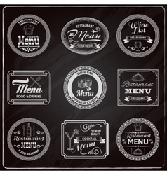 Retro menu labels chalkboard vector