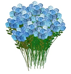 Grand bouquet of blue roses for a meeting or vector