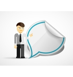 Young businessman with speech bubble vector