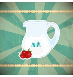 Jug of milk and strawberries vector