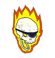 Comic cartoon flaming pirate skull vector