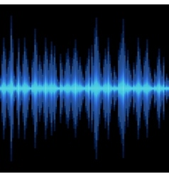 Blue sound wave on black background vector