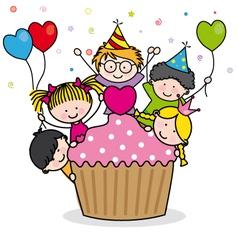 Celebrating birthday party vector image