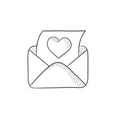 Envelope mail with heart sketch icon vector image