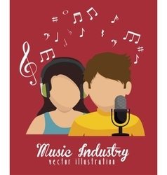 Couple singing isolated icon design vector