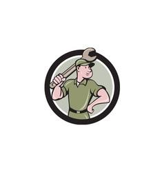 Mechanic wielding spanner circle cartoon vector